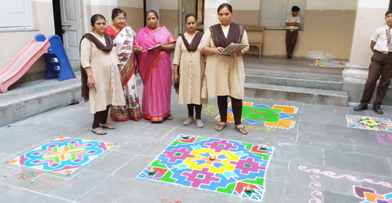 Oshwal Balmandir and Primary School Rangoli 13.10.17